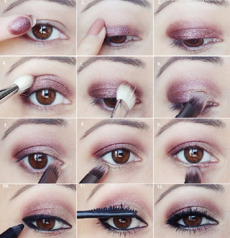 15 magical makeup tips to beautify your hooded eyes in a minute just use only one shimmery eyeshadow for hooded eyes to make it look more opened and defined now apply the plum gold shadow above your natural crease ccuart